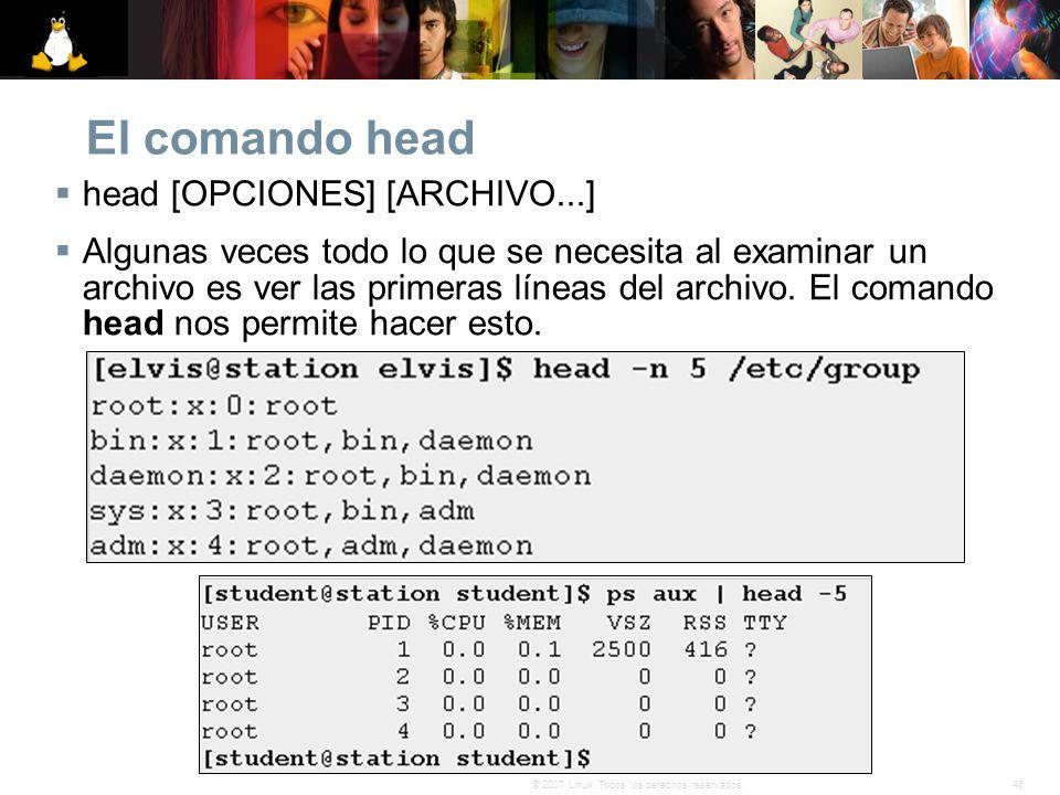 El comando head head [OPCIONES] [ARCHIVO...]